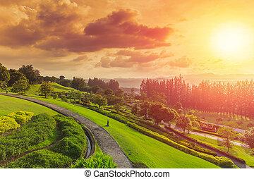 green park mountain landscape hill nature view sunset beautiful sky