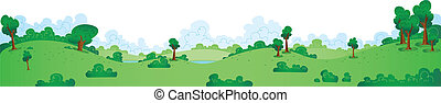 Green Park Panorama - A wide cartoon panorama of a green,...