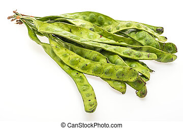 Green Parkia vegetable isolated on white background