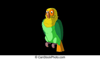 Green Parrot Cleans Feathers. Classic Handmade Animation with Alpha Channel.