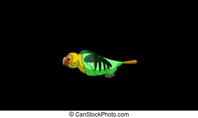 Green Parrot Flies. Classic Handmade Animation with Alpha Channel.