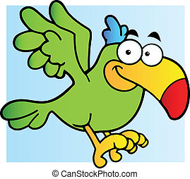 Green Parrot Flying - Parrot Cartoon Character Flying