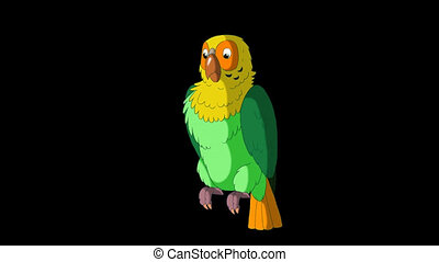 Green Parrot Greets. Classic Handmade Animation with Alpha Channel.