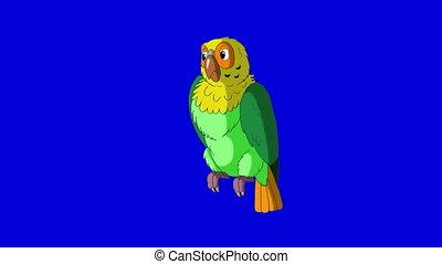 Green Parrot Turns. Classic Handmade Animation