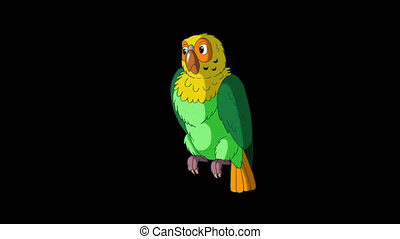 Green Parrot Turns. Classic Handmade Animation with Alpha...