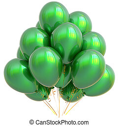 Green party balloons happy birthday decoration glossy