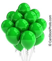 Green party ballooons