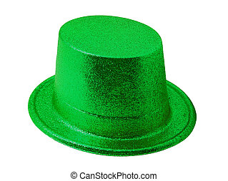 Green party hat isolated on white with clipping path.