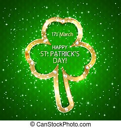Green Patricks day background with clover