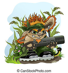 Green patrol - Picture of funny creature with bazooka and...