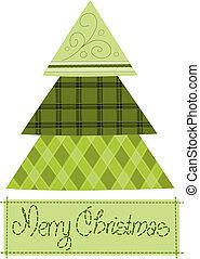 Green pattern christmas tree - vector illustration.