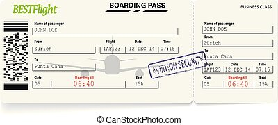 Green pattern of airline boarding pass