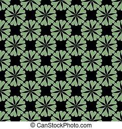 Green pattern on black seamless background.