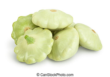 green pattypan squash isolated on white background, Clipping path and full depth of field.