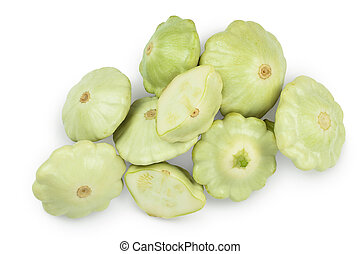 green pattypan squash isolated on white background. Top view with clipping path. Flat lay.