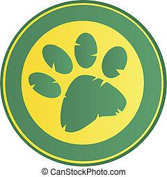 Green Paw Print Banner