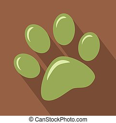 Green Paw Print Icon