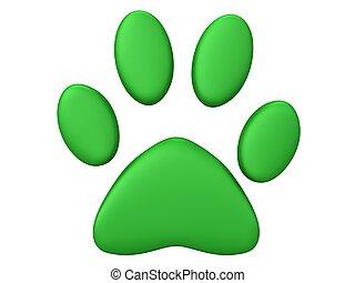 Green paw print