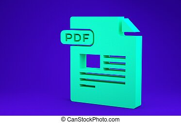 Green PDF file document. Download pdf button icon isolated on blue background. PDF file symbol. Minimalism concept. 3d illustration 3D render