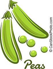 Green pea in cartoon style