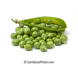 Green pea isolated on white background