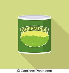 Green pea tin can icon, flat style