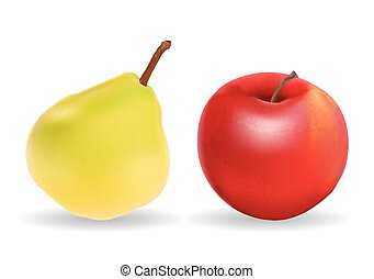 Green Pear and Red Apple Isolated on White Background Vector Ill