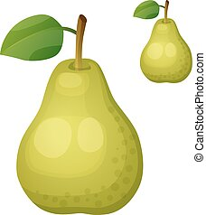 Green pear.  Cartoon vector icon isolated on white background. Series of food and drink