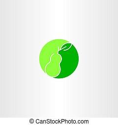green pear fruit logo vector