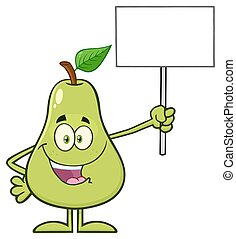 Green Pear Fruit With Leaf Cartoon Mascot Character Holding A Blank Sign