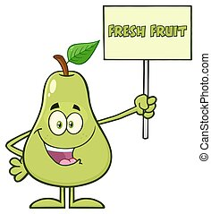 Mascot Character Holding A Sign With Text Fresh Fruit