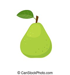 Green pear icon flat design vector illustration