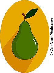 Green pear, illustration, vector on white background