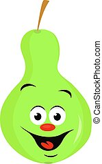 Green pear, illustration, vector on white background.