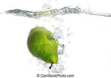 Green pear in water