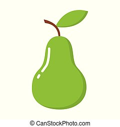Green pear isolated on white background. Vector illustration.