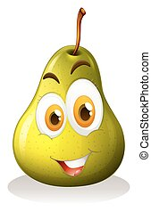 Green pear with happy face