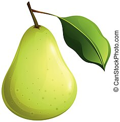 Green pear with leaf illustration