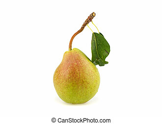 Green pear with leaf on white background