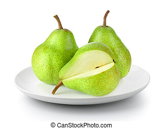 green pears in plate isolated on a white background