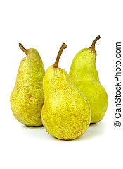 Green pears isolated on the white background