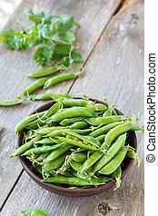 Green peas in a dish