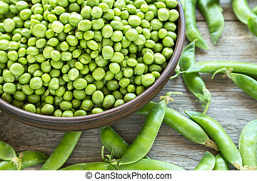 Green peas in a dish