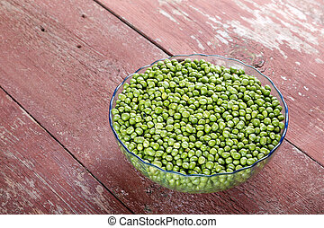 Green peas in a plate