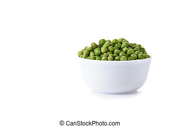 Green peas in a white bowl isolated on white background.