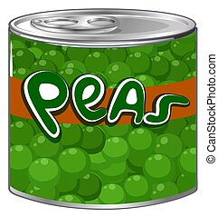 Green peas in aluminum can