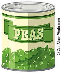 Green peas in aluminum can