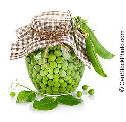 green peas in glass jar
