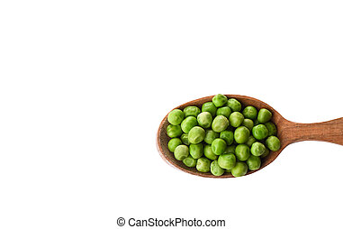 Green peas in wooden spoon isolated on white background.