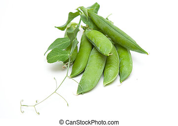 green peas on a white background